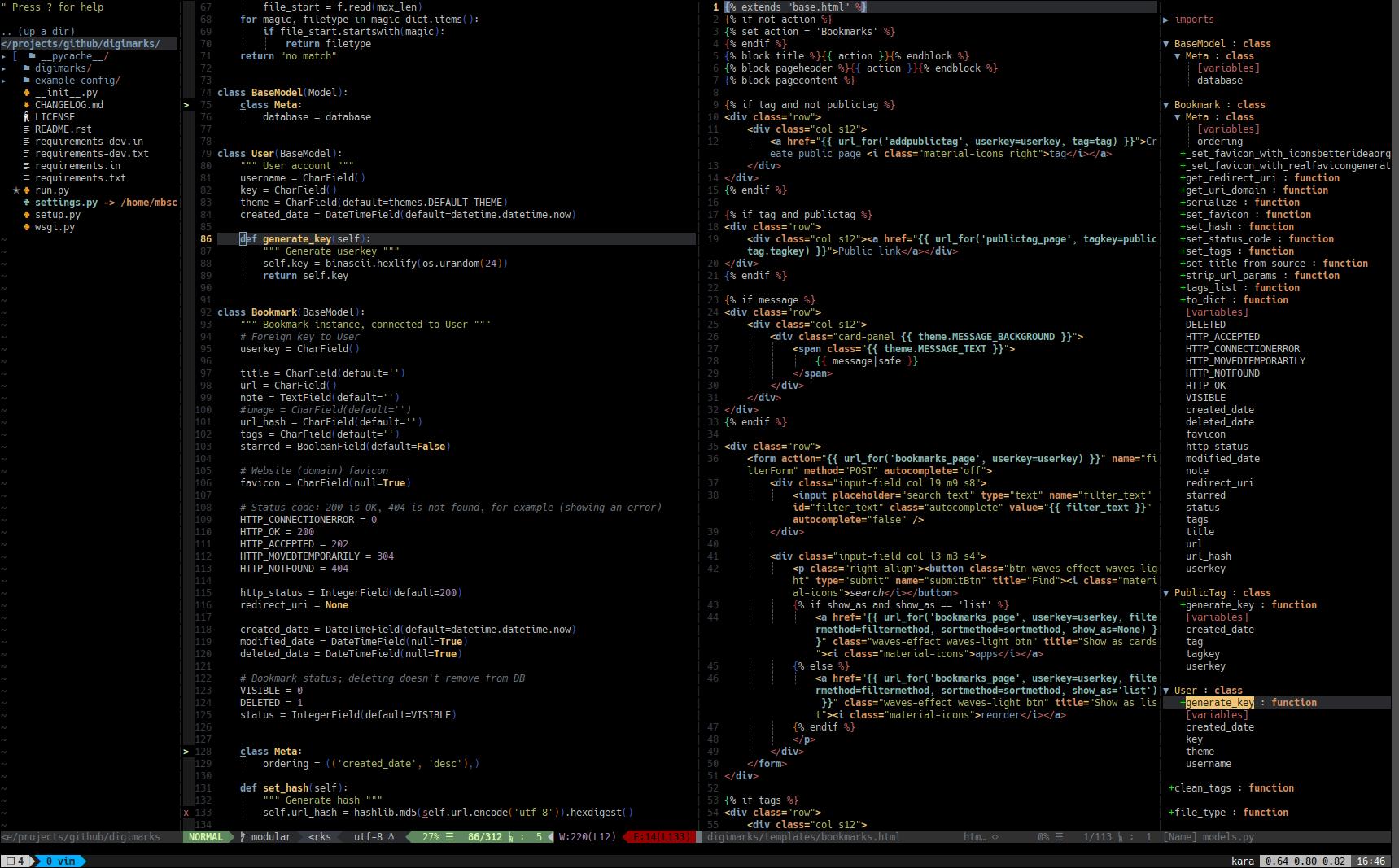 Current vim as python IDE