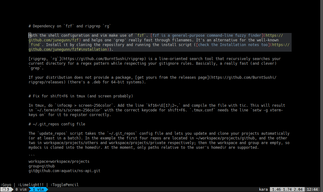vim in distraction free mode with ,V