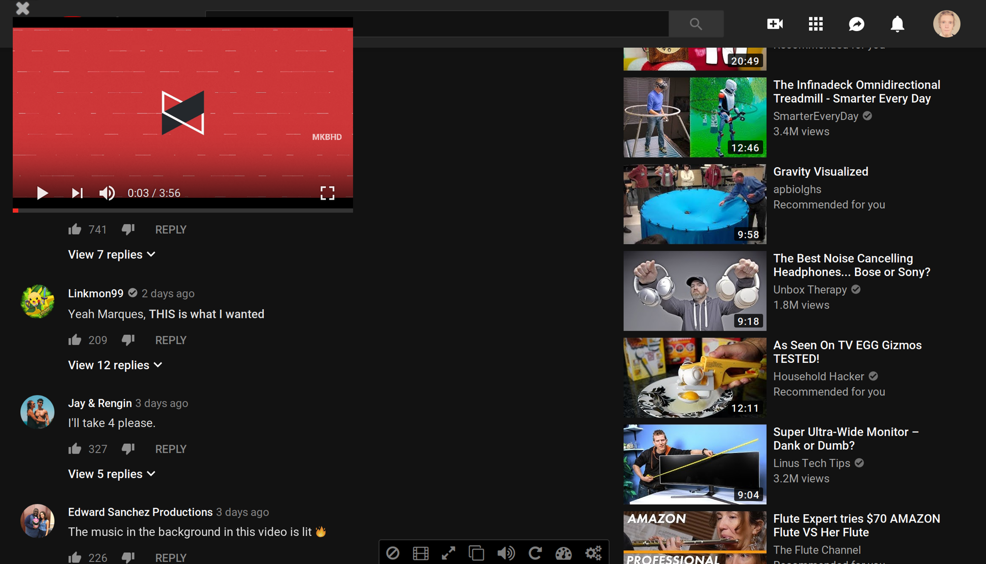 Screenshot of YouTube with the Enhancer for YouTube addon