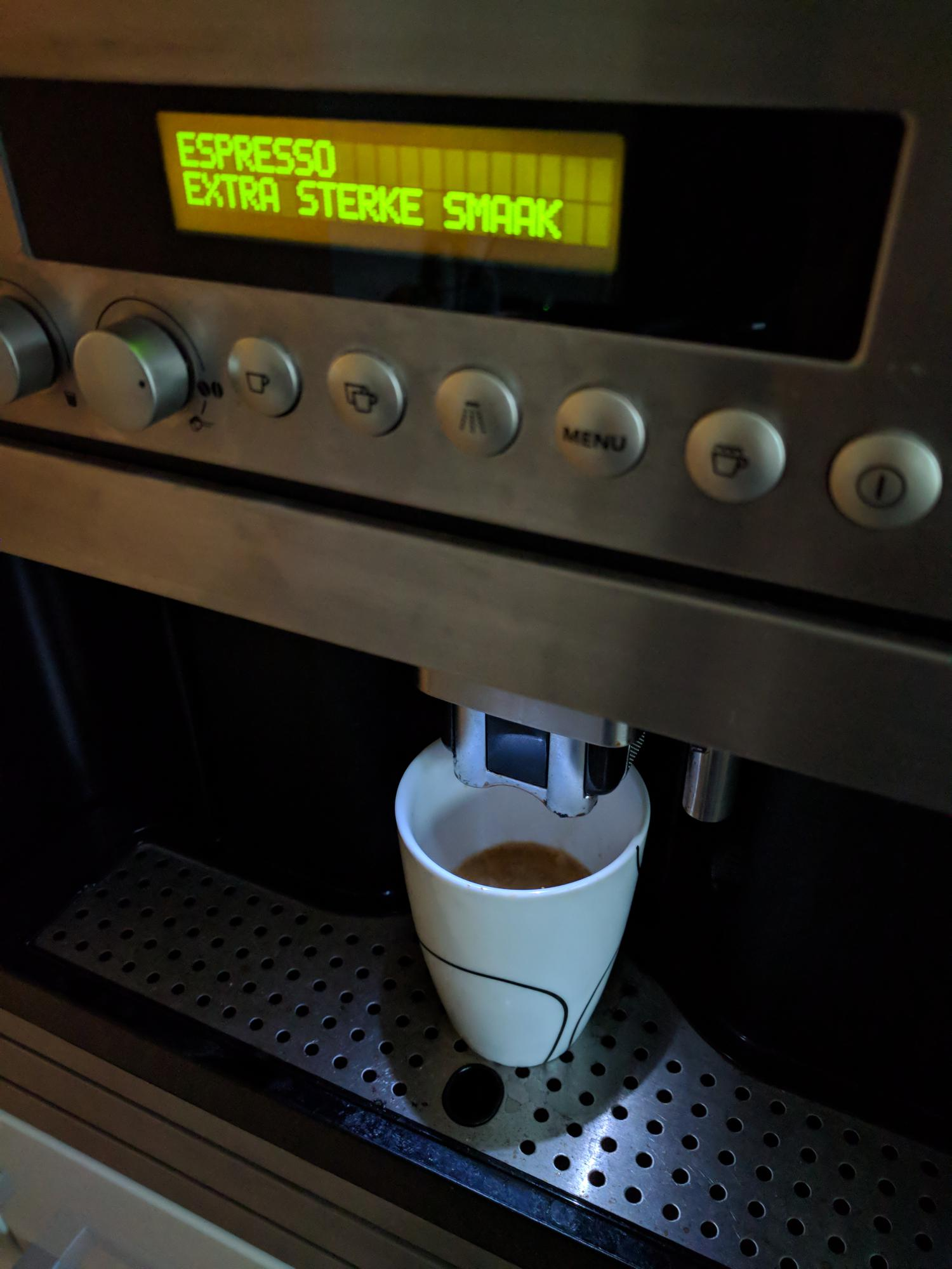 Espresso in a coffee machine